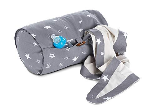 Theraline Stillrolle PLUS inkl. Blick- und Sonnenschutz/Stillkissen mini geräuschfrei/kleines Babystillkissen waschbar/Stillmuff Maße ca. 33 x 20 cm, Design:Sterne grau