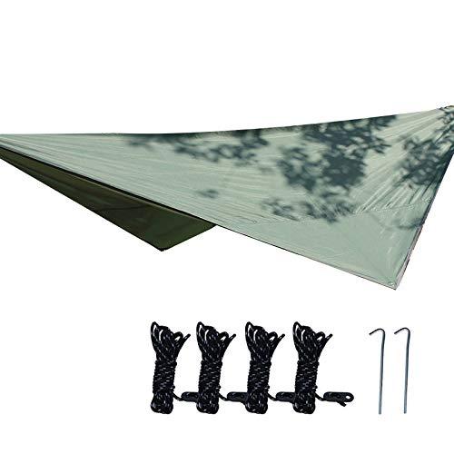 SNOWINSPRING 320X250cm Waterproof Tarp Tent Shade Outdoor Camping Hammock UV Garden Awning Canopy Sunshade Ultralight Green