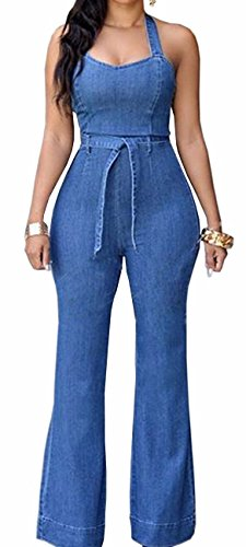Sexyshine Women's Halter Lace Up Backless Casual Wide Leg Blue Denim Long Jumpsuit Playsuit Rompers With Belt(BE,XL)