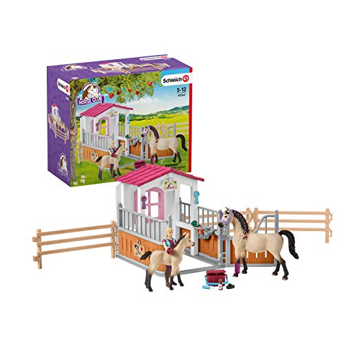 SCHLEICH Horse Club Horse Stall with Arab Horses and Groom 26-piece Educational Playset for Kids Ages 5-12, Multi (42369)