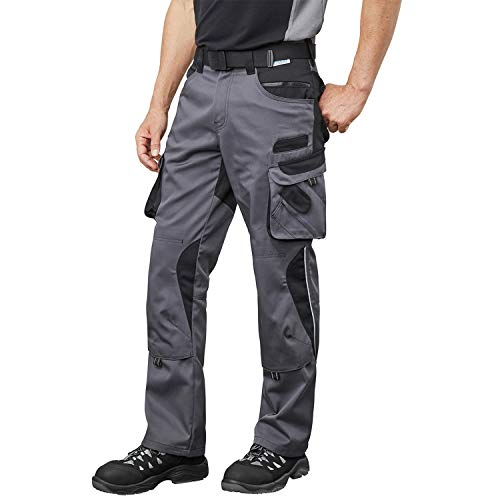 Pionier ® workwear Bundhose Arbeitshose | reißfest strapazierfähig UV-Schutz | Cargohose mit Handytasche Kniepolstertasche Stauraum | grau/schwarz 50