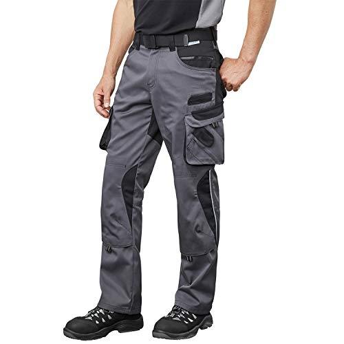 Pionier ® workwear Bundhose Arbeitshose | reißfest strapazierfähig UV-Schutz | Cargohose mit Handytasche Kniepolstertasche Stauraum | grau/schwarz 54