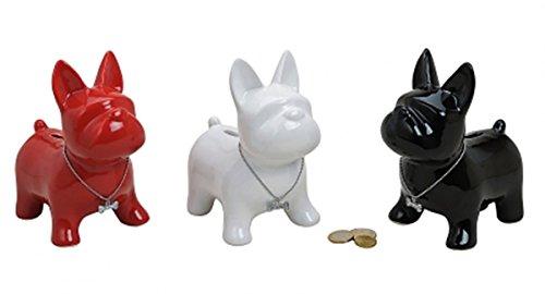 Spardose Hund Keramik Französische Bulldogge Sparkasse Hunde schwarz rot weiß stehend