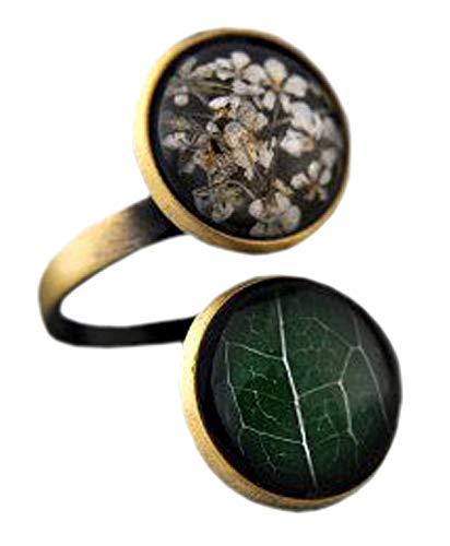 Bestseller - Doppelter Ring Echte Blüten Blatt Verstellbar Messing Vintage Grün weiß Feminin Einzigartig Geschenk für Sie