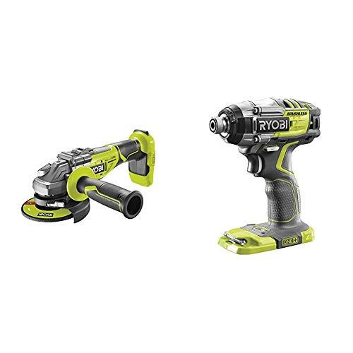 Ryobi R18AG7-0 18V ONE+ Cordless Brushless Angle Grinder (Body Only) & R18IDBL-0 18V ONE+ Cordless Brushless Impact Driver (Body Only)