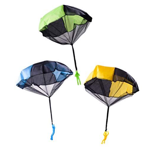 NUOBESTY 3 Stücke Fallschirm Spielzeug Verwicklung Frei Werfen Spielzeug Fallschirm Figuren Handwurf Soliders Outdoor Kinder Fliegen Spielzeug für Kinder
