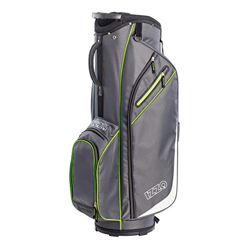 Izzo Golf Ultra-Lite Cart Golf Bag with Single Strap & Exclusive Features, Gray/Lime