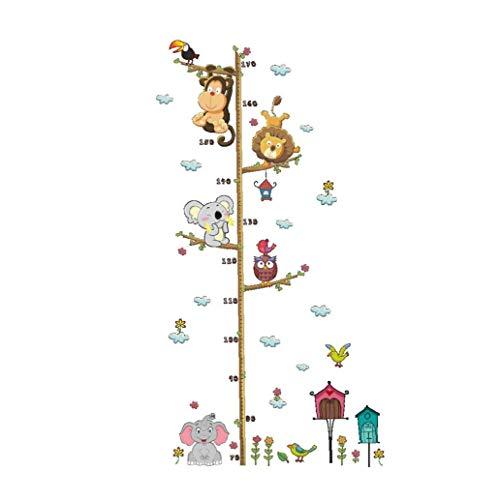 Wall Sticker Jungle Wild Animals Ramificati Altezza Tabella Di Misura Murale Della Parete Di Decalcomanie Per I Bambini Del Bambino Decorazione Camera