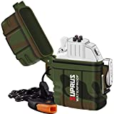 SUPRUS Waterproof Arc Lighter Insert Detachable Waterproof Case 2-in-1 with Survival Emergency Whistle Lanyard Perfect for Classic Lighter Insert&Case