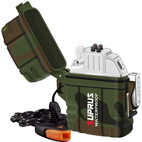 SUPRUS Plasma Wasserdichtes Feuerzeug Wasserdichtes IPX-7-Gehäuse + Leichterer Einsatz 2in1