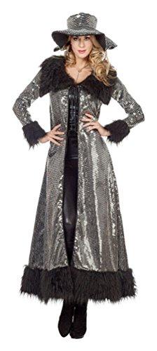Karneval-Klamotten Disco Kostüm Damen 70er Jahre Disco schwarz Silber Diva Schlager-Move Damenkostüm