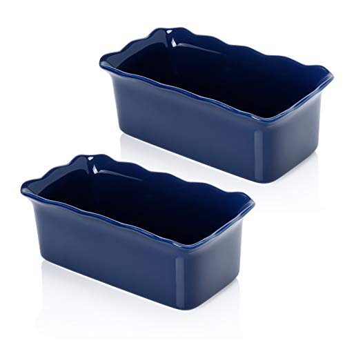 Sweese 519.203 Porcelain loaf pan for Baking, Non-Stick Bread Pan Cake Pan, Perfect for Bread and Meat, 9 x 5 inches, Set of 2, Navy
