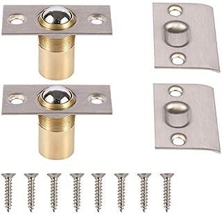 META Hardware Adjustable Cabinet/Closet/Door Large Ball Catch/Latch with Strike Plate & Screws, 2-1/8 inch, Satin Nickel (2 Pack)