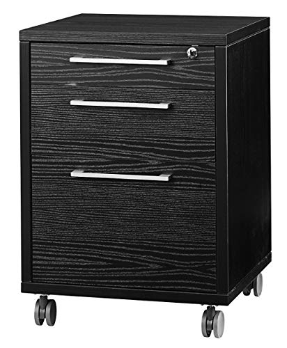 Kommode Prisme Büroschrank Ablageschrank Rollcontainer schwarz Esche Dekor