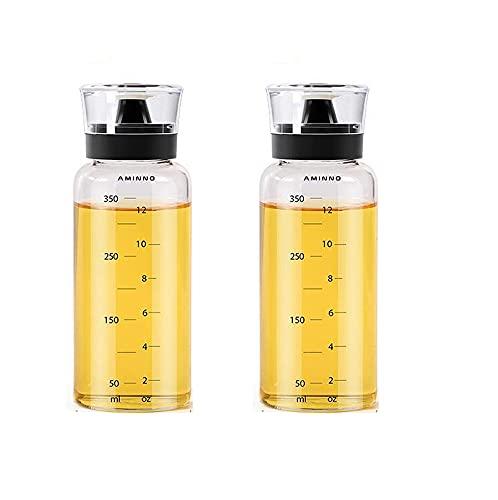 Aceitera Antigoteo de Cristal, Botella para Aceite de Oliva y Vinagre Cocina, Recipiente con Tapón Dispensador, Vidrio con Escala de Medidas, 2x350ml
