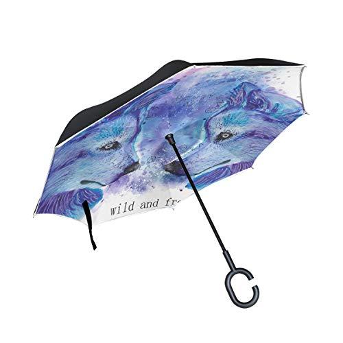 ISAOA Doppelschichtiger umgekehrter faltbarer Regenschirm, selbststehend und innen nach außen, Auto-Regenschirm, winddicht, Regenschirm mit UV-Schutz