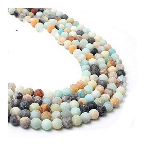 WEIGENG - Collana rotonda opaca con perline sciolte per lavoro a mano, con pietra naturale, 4/6/8/10 mm (colore: amazzonite colorata, dimensioni: 8 mm)