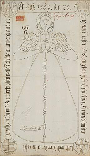 H. W. Fichter Kunsthandel: Epitaph Ana von Degenberg (gest. 1569), Heraldik, Wappen, um 1700, Zeichnung