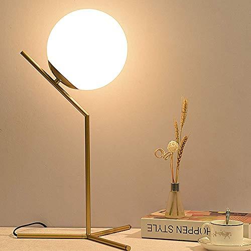 Runaup Bola de Cristal Lámpara de Mesa, Tornillo E27 Fuente de luz, Creativo Forma de Luna Lámpara de Noche Luz Decorativa para Dormitorio, Sala de Estar, Estudio, Hotel