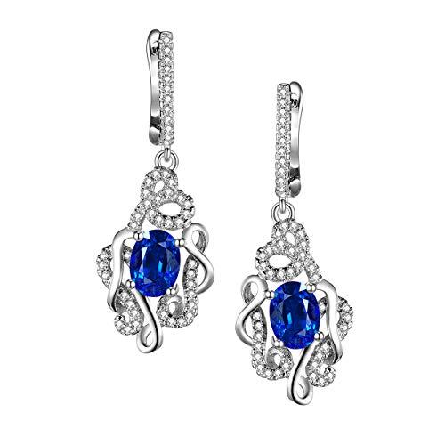 Elegantes pendientes de mujer con cristales exquisitos y brillantes, color azul