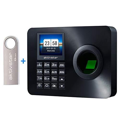 Aktivstar Maquina Asistencia Empleados de Fichar Huella Dactilar con Sistema Española, Pantalla LCD Memoria Flash de 8GB Relojes Relojes para Fichar con Capacidad de 3000 Huellas Dactilares 🔥