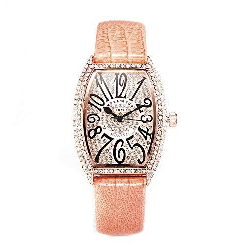 Armbanduhren,Net Rotwein Fass Set Diamant Englisch Uhr Korean Fashion Watch, Pink