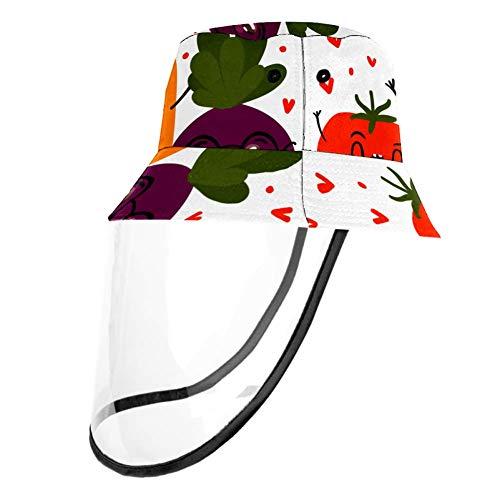 Sommer-Sonnenhut von Mumimi, verstaubare Hüte, bemaltes Emoji-Gemüse-Muster, Anti-Beschlag, staubdicht, mit abnehmbarem Gesichtsschutz, Fischerhut Gr. Medium, Farbe1