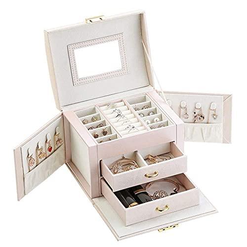 JIANGCJ Cajas de joyería de cuero de 3 capas con espejo, ideales para relojes, collares, anillos, pendientes y pulseras