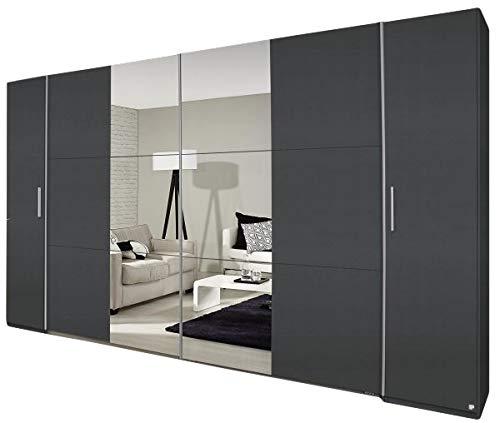 Jugendmöbel24.de Dreh-/Schwebetürenschrank Nico grau metallic 4-TRG B 355 cm Schlafzimmer Drehtürenschrank Kleiderschrank Wäscheschrank Schiebetürenschrank