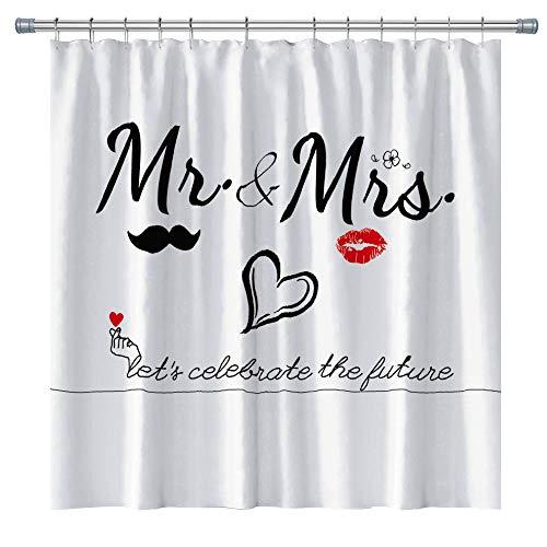 Queen Mr Mrs Duschvorhang für Verliebte Paare Hochzeit Braut Badezimmer Stoff Bad Dekor Vorhang Set mit Haken 180 x 180 cm (schwarz weiß)