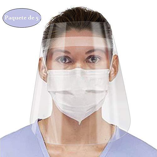 Pantalla Protección Facial Transparente de Seguridad Visera Protectora para la Cara, 5pc Viseras Lente Facial Ajustable Ligera Antivaho plástico Ligero para Hombres Mujeres Evitar la Saliva ⭐