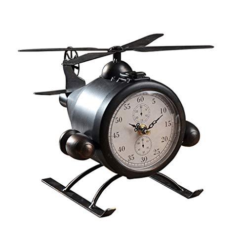 Elegante Reloj de Mesa Retro hierro forjado asiento de avión reloj reloj sala de estar creativa gabinete de vino TV gabinete dormitorio reloj escritorio escritorio decoración Reloj de Escritorio