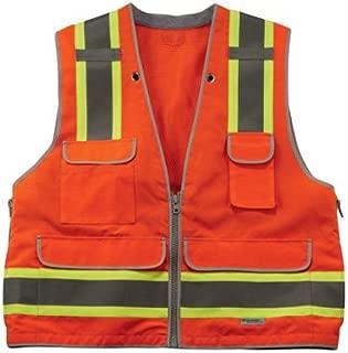 Ergodyne GloWear 8254HDZ Class 2 Heavy-Duty Surveyors Safety Vest ,Orange, Large/X-Large