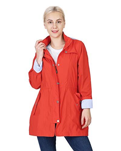 Outdoor Ventures Women's Raincoat Waterproof with Detachable Hood Lightweight Long Trench Coat Rain Jacket Windbreaker Quick Dry Adjustable Waist Soft Lining Active Outdoor Travel (Sun Red, S)