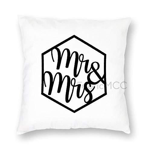 JamirtyRoy1 Funda de almohada personalizada Mr & Mrs, funda de almohada de 50 x 50 cm, funda de cojín decorativa para sofá cama, decoración del hogar