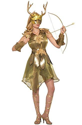 Diana Artemis Göttin der Jagd Damen Kostüm Gold Gr. S/M Wald Hirsch Mythologie Jägerin Kriegerin Waldgeist