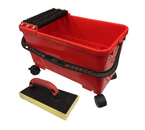 Grout Caddy Bucket Grout Tile Rolling Cleaning System with Sponge Trowel