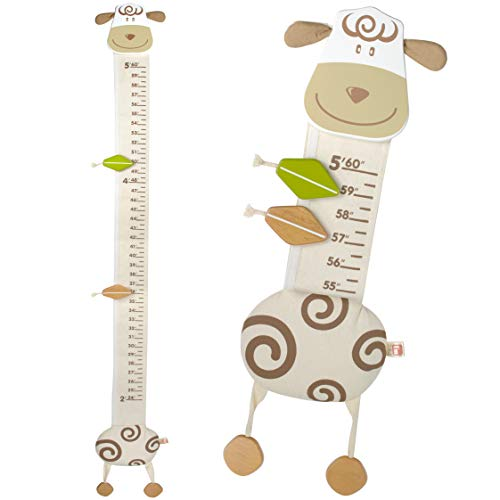 I#039m Wood and Fabric Wall Growth Chart Height Measurement Scale Ruler for Kids Sheep