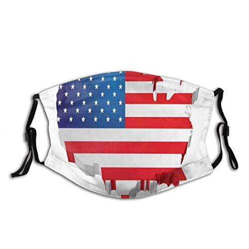 wangjinqi11 3D-Karte der Vereinigten Staaten mit altem Ruhm Thema patriotische Illustration Staub waschbar wiederverwendbares Bandana und wiederverwendbarer Mund winddichte Gesichtsabdeckung