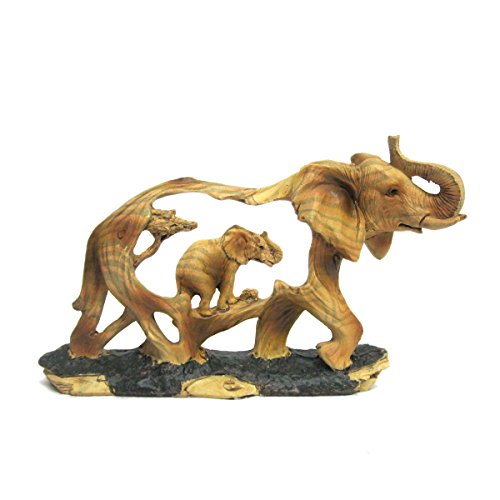 Elephant and Baby Walking in The Wild Faux Wood Figurine