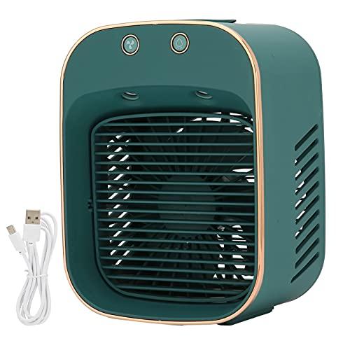 Ventola per Condizionatore D'aria Portatile, 5 Livelli di Velocità del Vento Regolabile, Mini Ventola di Umidificazione Alimentata Tramite USB per Dormitorio da Camera da Letto per Ufficio (verde Scur