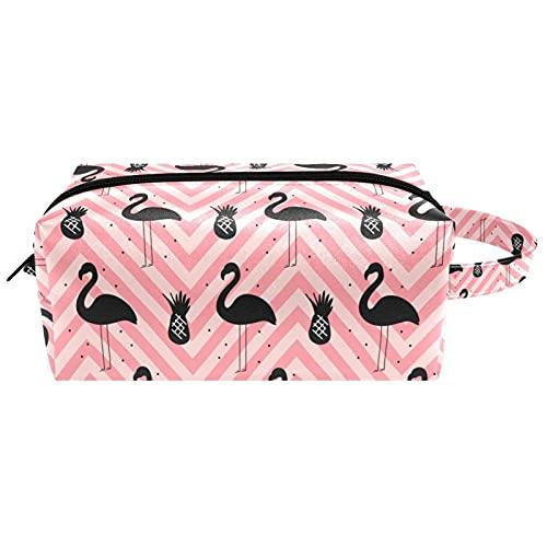 Borsone da viaggio con fenicottero nero e ananas su sfondo rosa, borsa per cosmetici da donna in microfibra per il trucco con cerniera