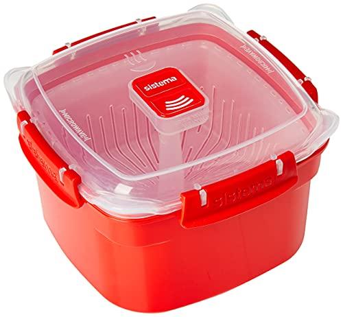 Sistema Behälter für Dampfkochen in Mikrowelle, 1,4 L, Rot
