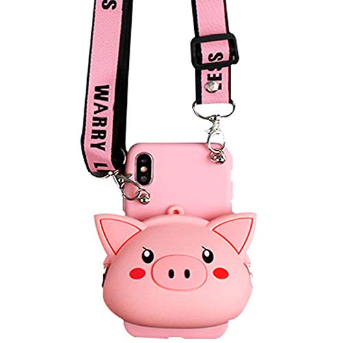 Funda para monedero compatible con iPhone 7 Plus/8 Plus, diseño de cerdo lindo con cremallera trasera de silicona suave a prueba de golpes [cuerda larga] (B Pig, iPhone 7 Plus/8 Plus)
