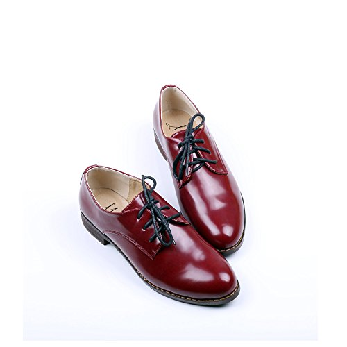 OUOUVALLEY Women's Oxford Patent Faux Leather Dress Shoes (U7.5(39=245MM), Red)