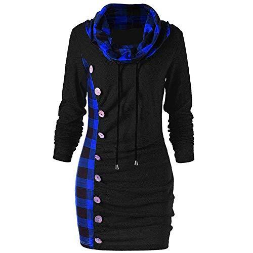 NPRADLA Damen 2-in-1 Kariert Casual Tops Mode Pullover Baggy Rundhalsausschnitt Sweatshirt Bluse Langarm Shirt