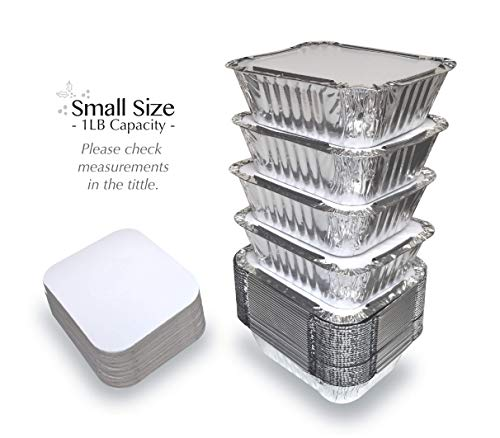 55 PACK - 1LB Aluminum Foil Pan Containers with Lids Take Out Pans Food Containers Disposable Easy Pack From Spare