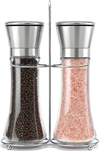 Salt and Pepper Grinder, Stainless Steel Salt Shakers with Adjustable Coarseness - Salt Grinders and Pepper Mill Shaker Set With Bottle Salt Holder