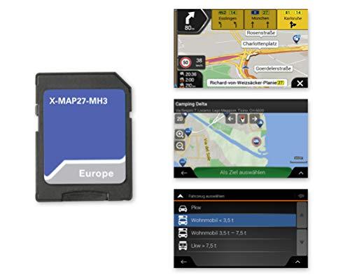 Xzent X-MAP27-MH1: Micro SD-Karte mit Reisemobil Navigation für XZENT Infotainer X-F270, Karten für Europa, Camping P.O.I. Paket, 3 Jahre kostenfreie Kartenupdates