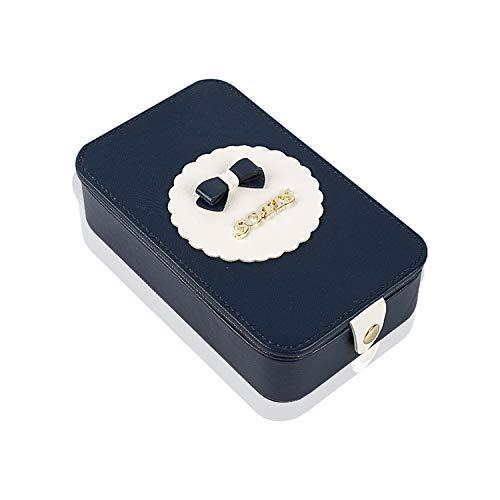 DEI QI Portable kosmetische Fall, Lippenstift Aufbewahrungsbox, Schmuck Box Ring Box mit Spiegel Mädchen GIF (Farbe : Blau)